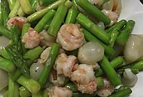 芦笋荔枝炒虾球的做法