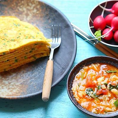 疙瘩汤·蔬菜饼(周末早餐)