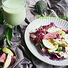 牛油果奶昔+鸡胸肉牛油果紫叶生菜沙拉#博世红钻家厨#