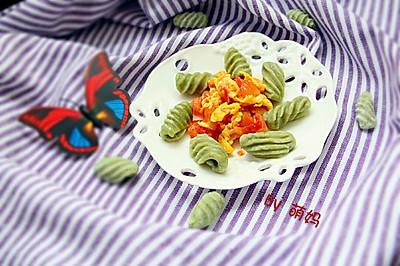 番茄炒蛋烩猫耳朵面~儿子最爱的面食之一