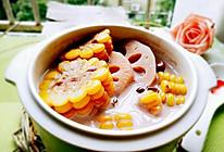 奶香玉米莲藕红豆汤的做法