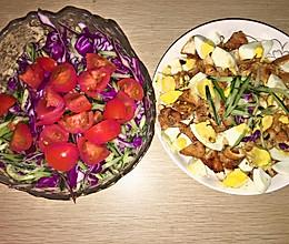 减肥晚餐:蒜蓉香煎鸡胸肉➕蔬菜水果沙拉的做法