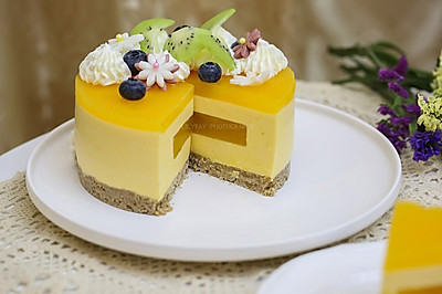百香果南瓜慕斯生日蛋糕(百香果果冻夹层)