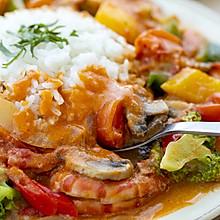 椰香红咖喱虾|酸爽开胃