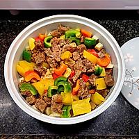 营养丰富又好吃的杏鲍菇彩椒牛肉粒,不用明火也可以做的做法图解7