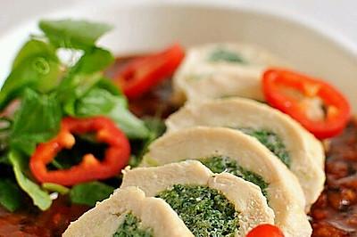 菠菜虾仁酿鸡胸