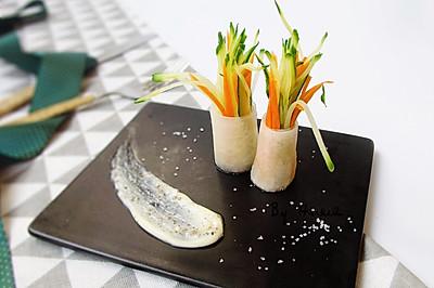 #爽口凉菜,开胃一夏!# 萝卜沙拉卷