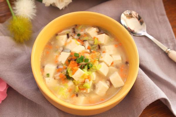 虾皮豆腐蔬菜羹  宝宝健康食谱的做法