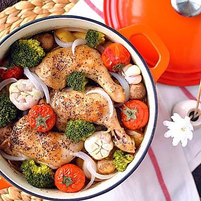 蒜香鲜蔬烤鸡腿