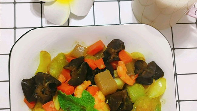 减脂系列——咖喱魔芋鲜虾烩的做法
