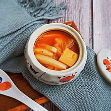 辣白菜豆腐年糕汤#十分钟早餐大挑战#