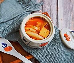 辣白菜豆腐年糕汤#十分钟早餐大挑战#的做法