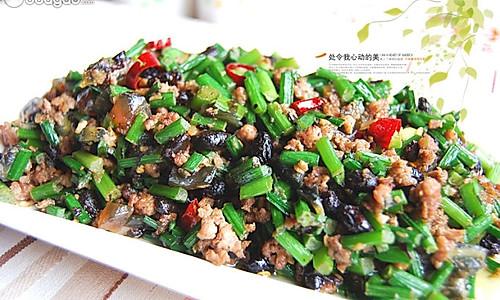 豆豉皮蛋韭菜花炒肉末的做法