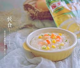 鸡茸玉米鲜虾粥的做法