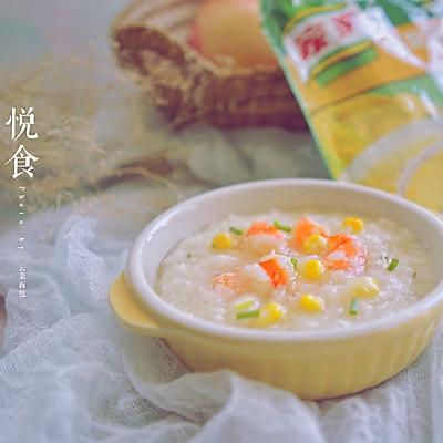 鸡茸玉米鲜虾粥
