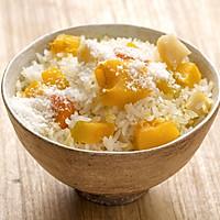 【腌蒸南瓜盖饭】【椰浆南瓜焖饭】一个小妙招,煮米饭更香更甜!的做法图解2