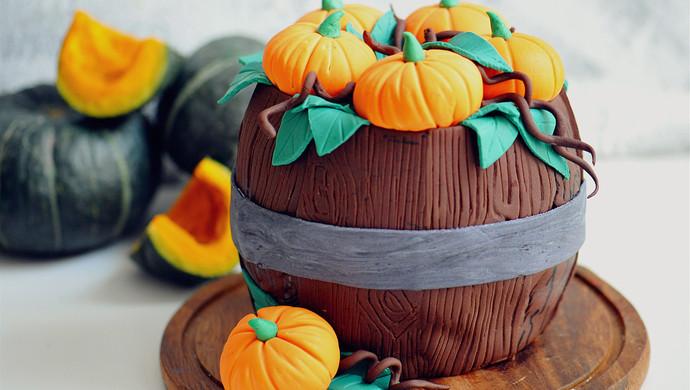 暖色秋季—秋的收获—南瓜翻糖蛋糕