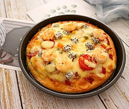 DIY鲜虾培根水果披萨 比点外卖还要快的做法