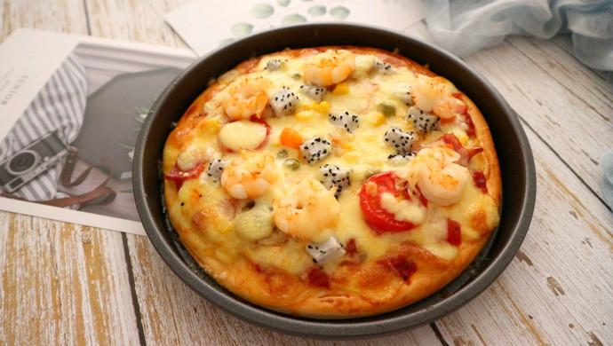 DIY鲜虾培根水果披萨 比点外卖还要快