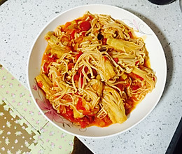 西红柿炒金针菇(绝配)的做法