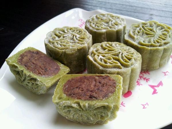 抹茶冰皮月饼~自制豆沙馅的做法