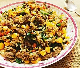 黑椒牛肉什锦炒饭的做法