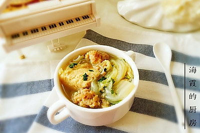 白菜粉丝丸子汤