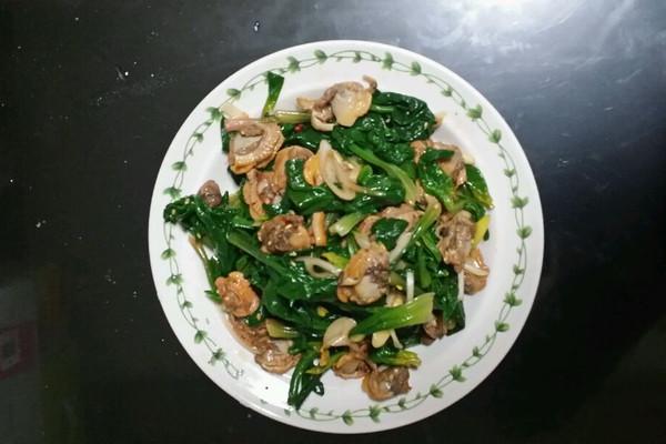菠菜拌毛蚬子的做法
