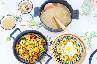 一家三口的晚餐,二菜一汤,好看又好吃,营养全面