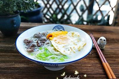 鸡蛋牛肉龙须面汤