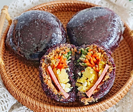 #白色情人节限定美味#紫米饭团的做法