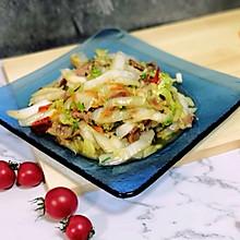 家常菜—香肠炒大白菜梗