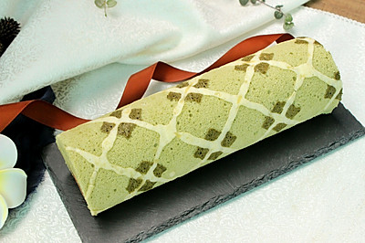 菱形格纹抹茶蛋糕卷#KitchenAid的美食故事#