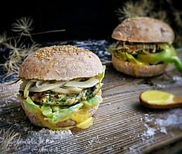茴香鸡肉全麦汉堡(附芥末蛋黄酱)的做法