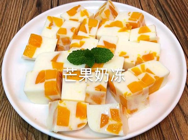 冰冰凉凉的芒果奶冻,好看又好吃