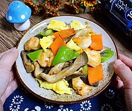 虾仁平菇炒时蔬 | 火锅剩余食材炒盘菜的做法