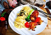 #橄榄中国味 感恩添美味#鸡排葱油意面的做法
