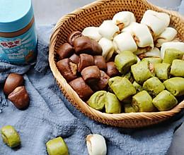 #四季宝蓝小罐#彩色花生酱小馒头|一次省时发酵的做法