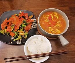 一人份晚餐一汤一菜营养健康家常快手菜的做法