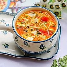 番茄豆腐金针菇汤