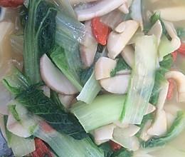 杏鲍菇扒小白菜的做法