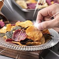 【咸蛋黄海苔薯片】红薯紫薯马铃薯,这样做口口香脆