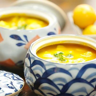 金瓜鲜虾豆腐盅【微体兔菜谱】