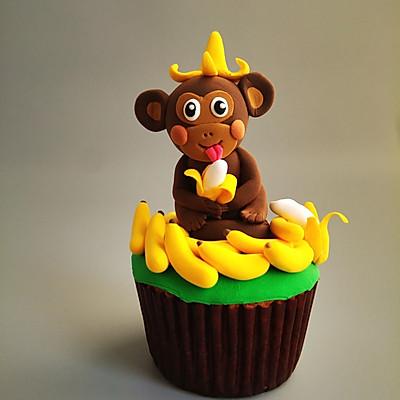 猴赛雷吃香蕉翻糖蛋糕