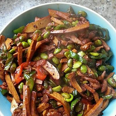 青椒豆干毛豆炒肉丝