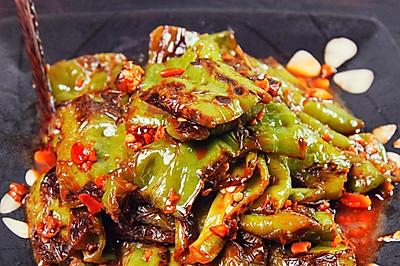 低油版「虎皮尖椒」香而不辣,超级下饭