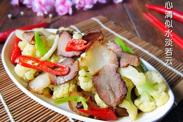 腊肉炒菜花的做法