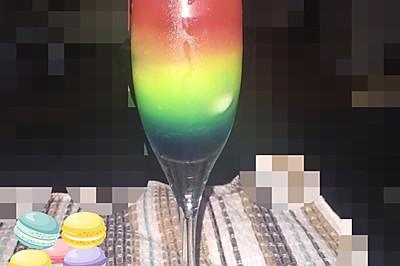 彩虹鸡尾酒 无酒精饮料 分层饮料