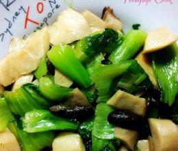 杏鲍菇炒油菜的做法