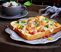 #10分钟早餐大挑战# 鲜虾吐司披萨的做法